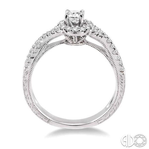 1/2 Ctw Diamond Engagement Ring with 1/5 Ct Round Cut Center Stone in 14K White Gold Image 3 Becker's Jewelers Burlington, IA