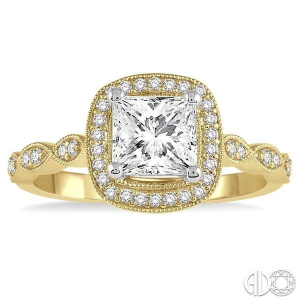 1/5 ctw Semi-Mount Round Cut Diamond Engagement Ring in 14K Yellow and White Gold Image 2 Becker's Jewelers Burlington, IA