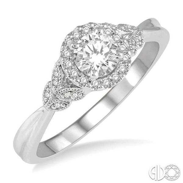1/6 Ctw Entwined Round Shape Semi-Mount Diamond Engagement Ring in 14K White Gold Becker's Jewelers Burlington, IA