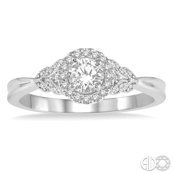 1/6 Ctw Entwined Round Shape Semi-Mount Diamond Engagement Ring in 14K White Gold Image 2 Becker's Jewelers Burlington, IA