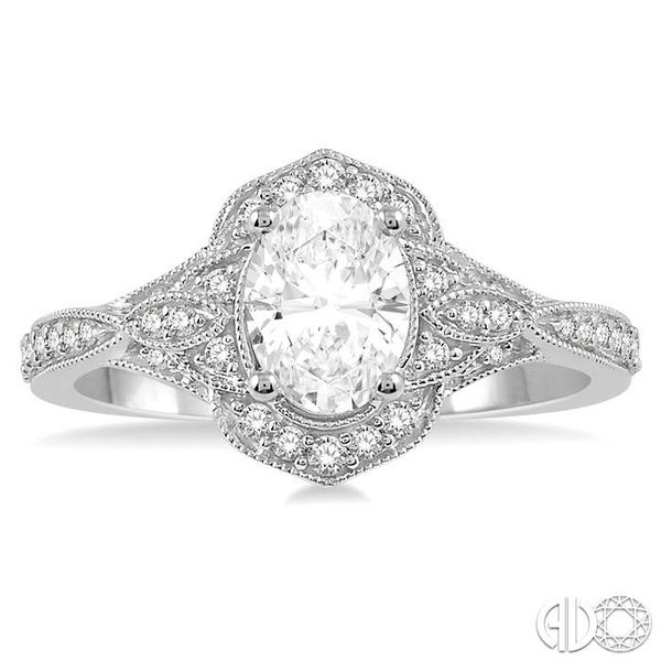 1/3 Ctw Vintage Oval Shape Semi-Mount Round Cut Diamond Engagement Ring in 14K White Gold Image 2 Becker's Jewelers Burlington, IA