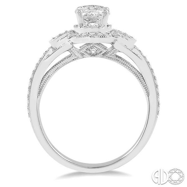 1/3 Ctw Vintage Oval Shape Semi-Mount Round Cut Diamond Engagement Ring in 14K White Gold Image 3 Becker's Jewelers Burlington, IA