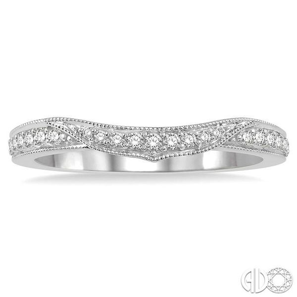 1/6 Ctw Arched Center Round Cut Diamond Wedding Band in 14K White Gold Image 2 Becker's Jewelers Burlington, IA
