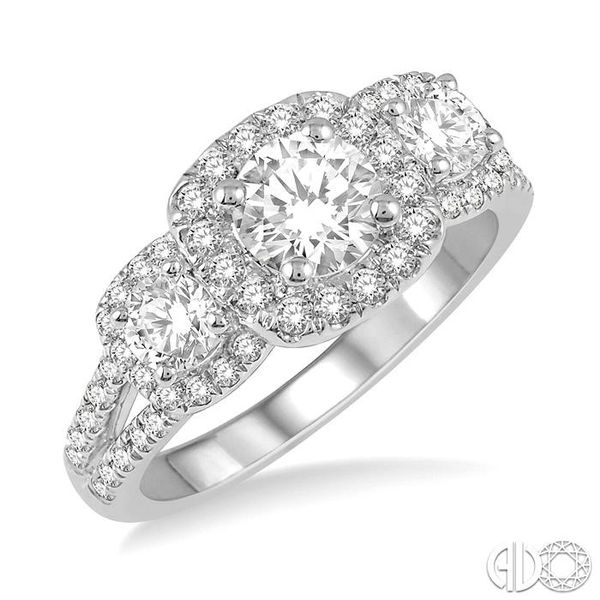 7/8 Ctw Triple Cushion Shape Semi-Mount Diamond Engagement Ring in 14K White Gold Becker's Jewelers Burlington, IA