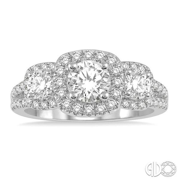 7/8 Ctw Triple Cushion Shape Semi-Mount Diamond Engagement Ring in 14K White Gold Image 2 Becker's Jewelers Burlington, IA