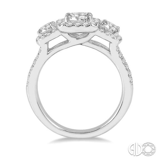 7/8 Ctw Triple Cushion Shape Semi-Mount Diamond Engagement Ring in 14K White Gold Image 3 Becker's Jewelers Burlington, IA