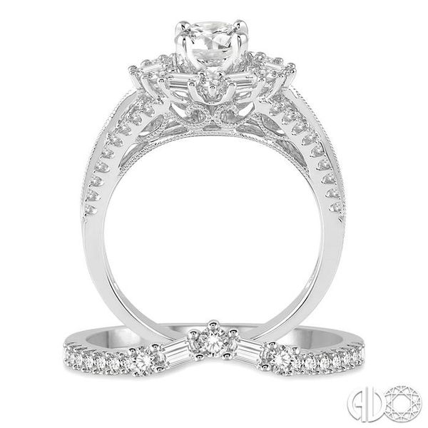1 1/2 Ctw Diamond Wedding Set with 1 1/6 Ctw Round Cut Engagement Ring and 1/3 Ctw Wedding Band in 14K White Gold Image 3 Becker's Jewelers Burlington, IA