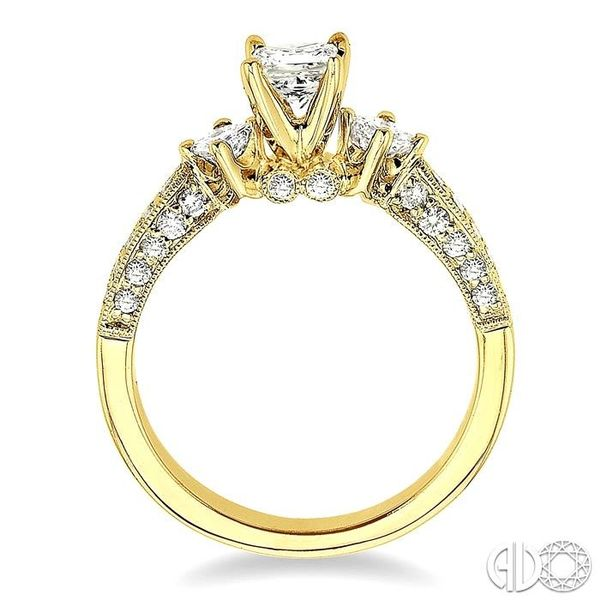 1 Ctw Diamond Engagement Ring with 3/8 Ct Princess Cut Center Stone in 14K Yellow Gold Image 3 Becker's Jewelers Burlington, IA