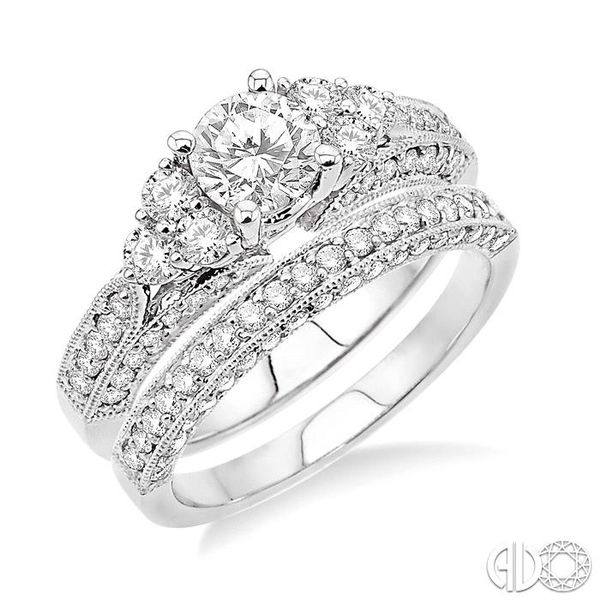 1 3/4 Ctw Diamond Wedding Set with 1 1/4 Ctw Round Cut Engagement Ring and 1/2 Ctw Wedding Band in 14K White Gold Becker's Jewelers Burlington, IA