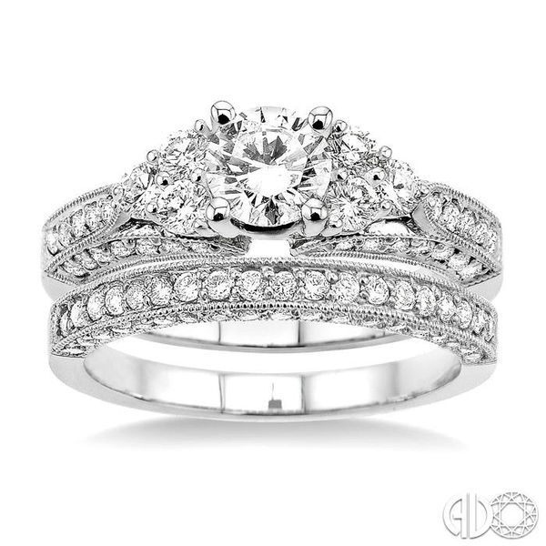 1 3/4 Ctw Diamond Wedding Set with 1 1/4 Ctw Round Cut Engagement Ring and 1/2 Ctw Wedding Band in 14K White Gold Image 2 Becker's Jewelers Burlington, IA