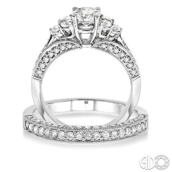 1 3/4 Ctw Diamond Wedding Set with 1 1/4 Ctw Round Cut Engagement Ring and 1/2 Ctw Wedding Band in 14K White Gold Image 3 Becker's Jewelers Burlington, IA