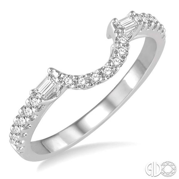 1/3 Ctw Crescent Shape Center Diamond Wedding Band in 14K White Gold Becker's Jewelers Burlington, IA
