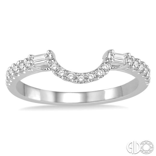 1/3 Ctw Crescent Shape Center Diamond Wedding Band in 14K White Gold Image 2 Becker's Jewelers Burlington, IA