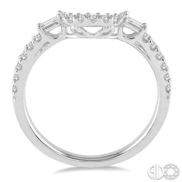 1/3 Ctw Crescent Shape Center Diamond Wedding Band in 14K White Gold Image 3 Becker's Jewelers Burlington, IA