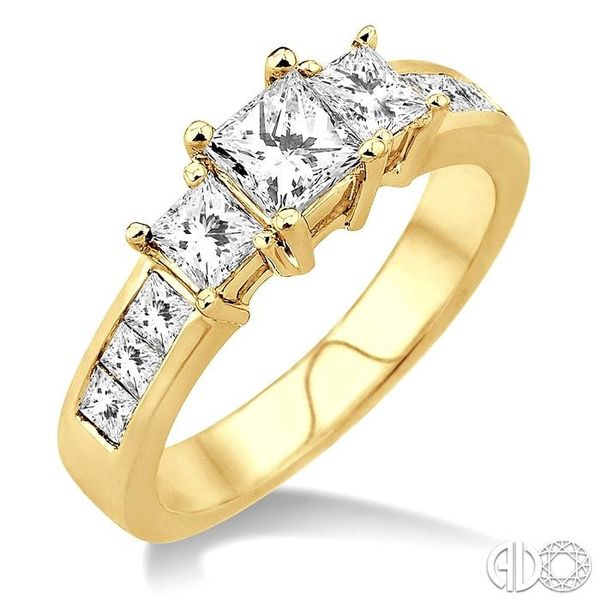 3 Ctw Nine Stone Princess Cut Diamond Engagement Ring in 14K Yellow Gold Becker's Jewelers Burlington, IA
