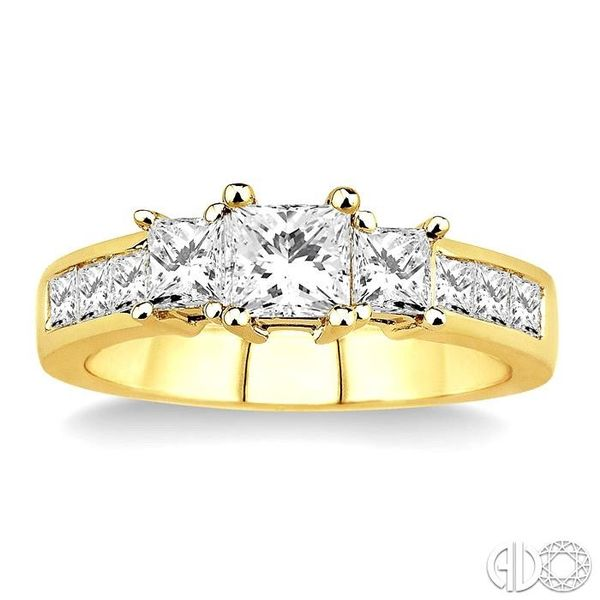 3 Ctw Nine Stone Princess Cut Diamond Engagement Ring in 14K Yellow Gold Image 2 Becker's Jewelers Burlington, IA