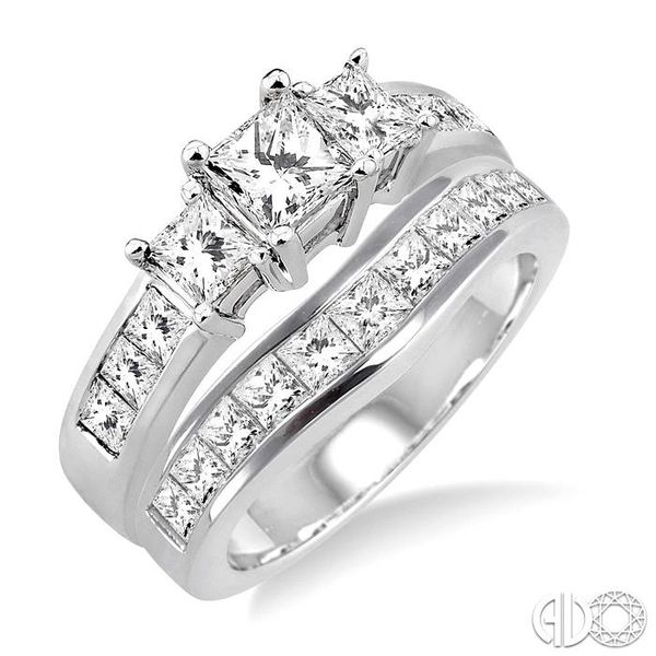 2 1/2 Ctw Diamond Wedding Set with 1 1/2 Ctw Princess Cut Engagement Ring and 1 Ctw Wedding Band in 14K White Gold Becker's Jewelers Burlington, IA