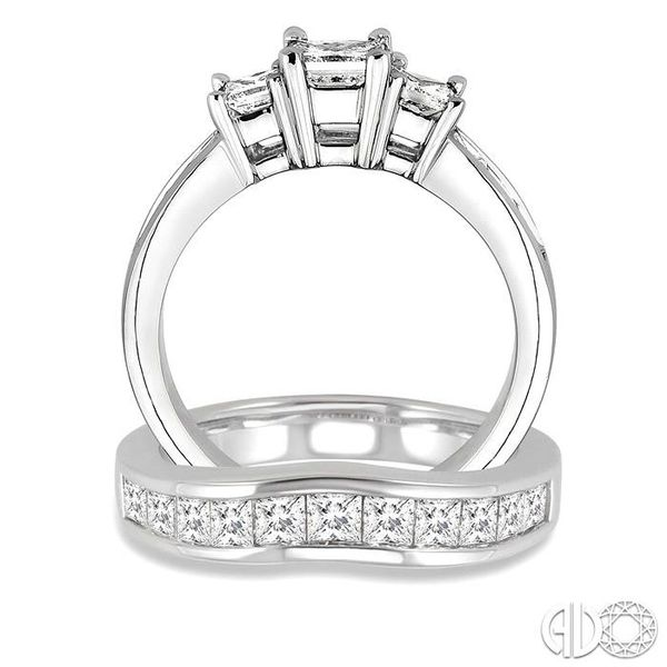 2 1/2 Ctw Diamond Wedding Set with 1 1/2 Ctw Princess Cut Engagement Ring and 1 Ctw Wedding Band in 14K White Gold Image 3 Becker's Jewelers Burlington, IA