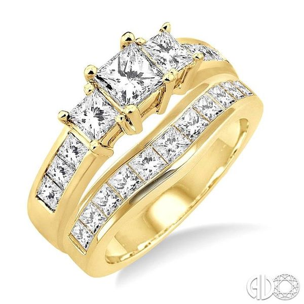 2 1/2 Ctw Diamond Wedding Set with 1 1/2 Ctw Princess Cut Engagement Ring and 1 Ctw Wedding Band in 14K Yellow Gold Becker's Jewelers Burlington, IA