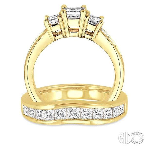 2 1/2 Ctw Diamond Wedding Set with 1 1/2 Ctw Princess Cut Engagement Ring and 1 Ctw Wedding Band in 14K Yellow Gold Image 3 Becker's Jewelers Burlington, IA