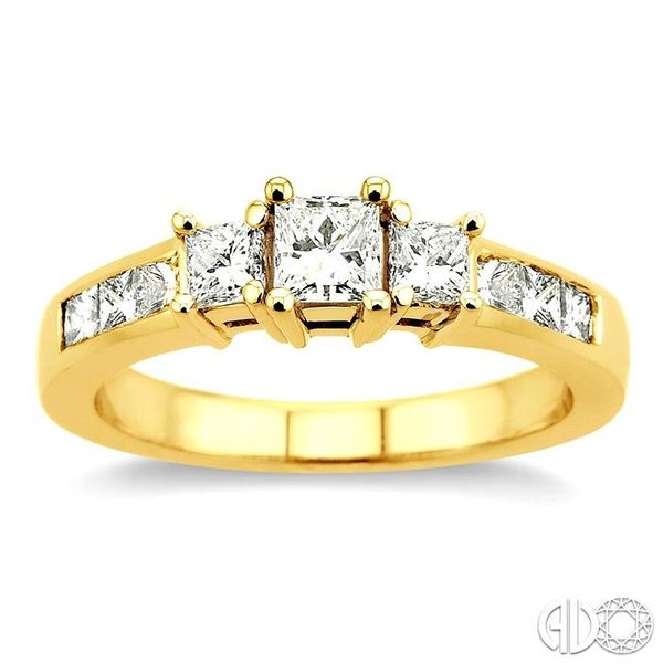 1 Ctw Nine Stone Princess Cut Diamond Engagement Ring in 14K Yellow Gold Image 2 Becker's Jewelers Burlington, IA