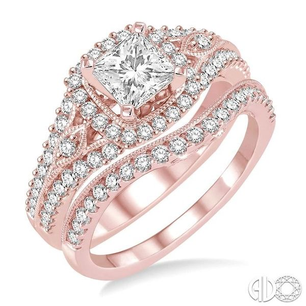 1 1/3 Ctw Diamond Wedding Set with 1 1/10 Ctw Princess Cut Engagement Ring and 1/4 Ctw Wedding Band in 14K Rose Gold Becker's Jewelers Burlington, IA