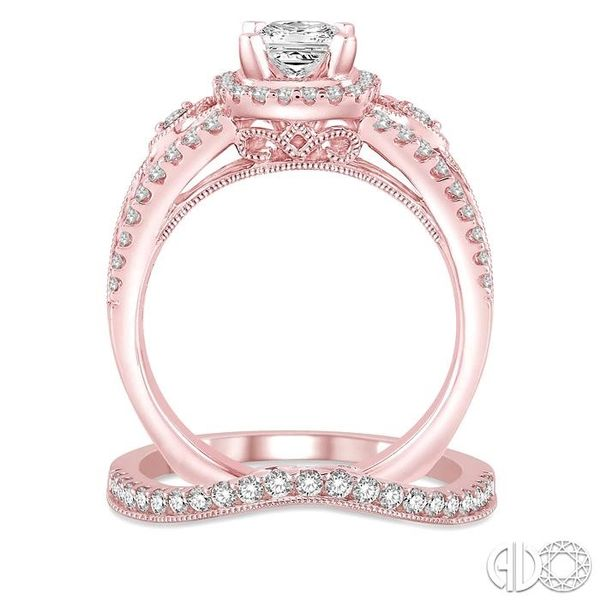 1 1/3 Ctw Diamond Wedding Set with 1 1/10 Ctw Princess Cut Engagement Ring and 1/4 Ctw Wedding Band in 14K Rose Gold Image 3 Becker's Jewelers Burlington, IA