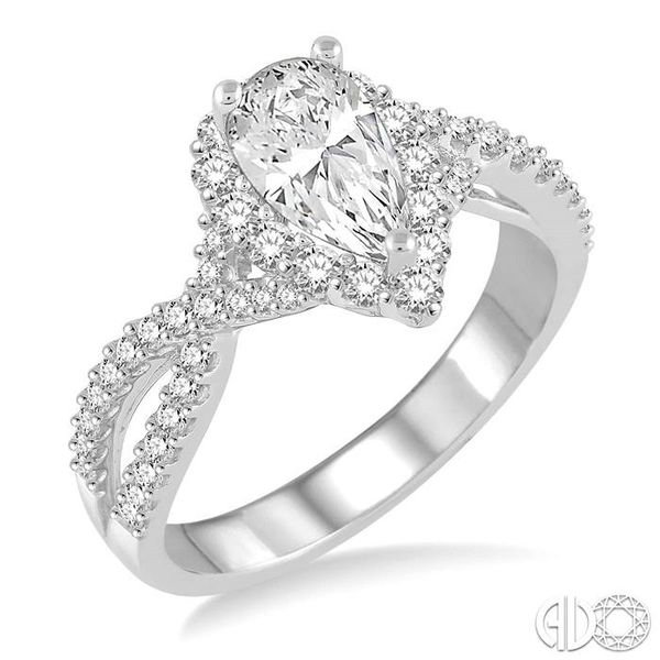 1 1/5 Ctw Diamond Engagement Ring with 5/8 Ct Pear Shape Center Stone in 14K White Gold Becker's Jewelers Burlington, IA