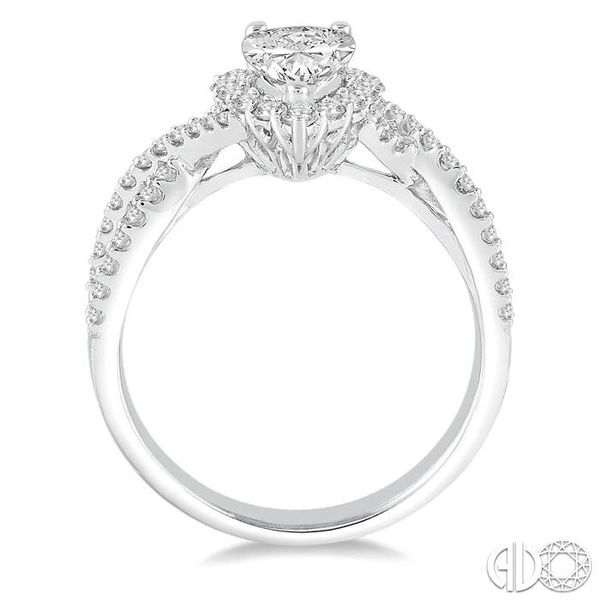 1 1/5 Ctw Diamond Engagement Ring with 5/8 Ct Pear Shape Center Stone in 14K White Gold Image 3 Becker's Jewelers Burlington, IA