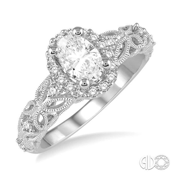 3/4 Ctw Vintage Inspired Diamond Halo Engagement Ring with 1/2 Ct Oval Cut Center Diamond in 14K White Gold Becker's Jewelers Burlington, IA
