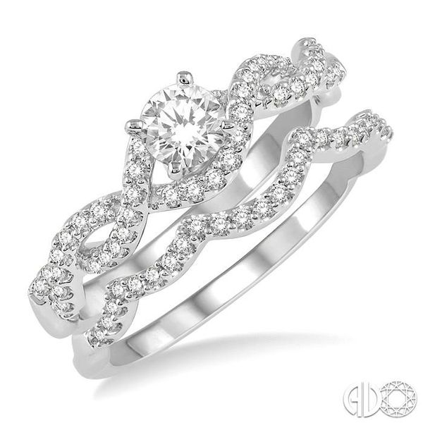 5/8 Ctw Diamond Wedding Set With 1/2 ct Round Diamond Engagement Ring and 1/10 ct Wavy Wedding Band in 14K White Gold Becker's Jewelers Burlington, IA