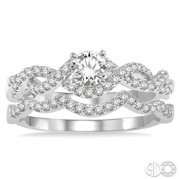 5/8 Ctw Diamond Wedding Set With 1/2 ct Round Diamond Engagement Ring and 1/10 ct Wavy Wedding Band in 14K White Gold Image 2 Becker's Jewelers Burlington, IA