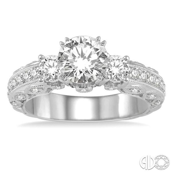 3/4 Ctw Diamond Semi-Mount Engagement Ring in 14K White Gold Image 2 Becker's Jewelers Burlington, IA