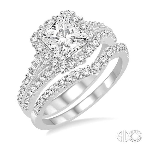 1 1/6 Ctw Diamond Wedding Set with 1 Ctw Princess Cut Engagement Ring and 1/5 Ctw Wedding Band in 14K White Gold Becker's Jewelers Burlington, IA