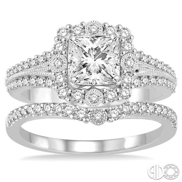 1 1/6 Ctw Diamond Wedding Set with 1 Ctw Princess Cut Engagement Ring and 1/5 Ctw Wedding Band in 14K White Gold Image 2 Becker's Jewelers Burlington, IA