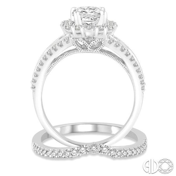 1 1/6 Ctw Diamond Wedding Set with 1 Ctw Princess Cut Engagement Ring and 1/5 Ctw Wedding Band in 14K White Gold Image 3 Becker's Jewelers Burlington, IA