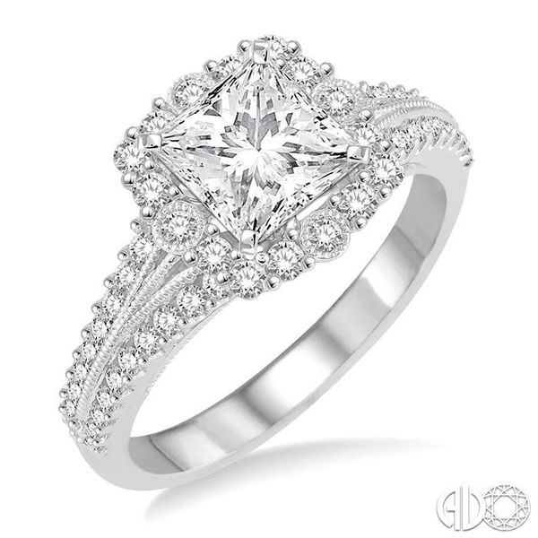 1 Ctw Diamond Engagement Ring with 1/2 Ct Princess Cut Center Stone in 14K White Gold Becker's Jewelers Burlington, IA