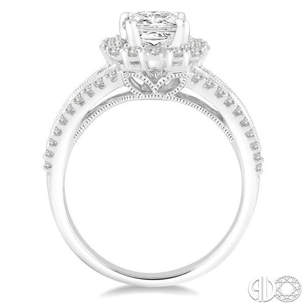 1 Ctw Diamond Engagement Ring with 1/2 Ct Princess Cut Center Stone in 14K White Gold Image 3 Becker's Jewelers Burlington, IA