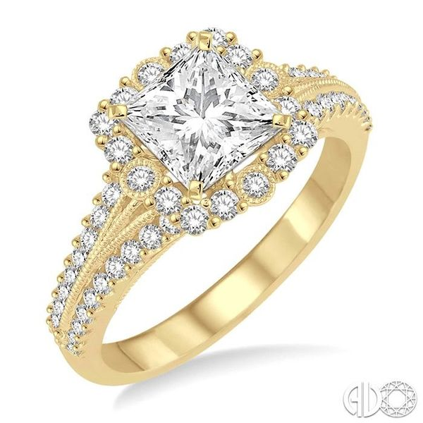 1 Ctw Diamond Engagement Ring with 1/2 Ct Princess Cut Center Stone in 14K Yellow Gold Becker's Jewelers Burlington, IA