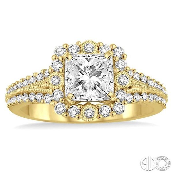 1 Ctw Diamond Engagement Ring with 1/2 Ct Princess Cut Center Stone in 14K Yellow Gold Image 2 Becker's Jewelers Burlington, IA