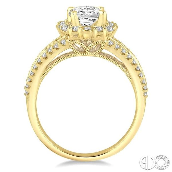 1 Ctw Diamond Engagement Ring with 1/2 Ct Princess Cut Center Stone in 14K Yellow Gold Image 3 Becker's Jewelers Burlington, IA