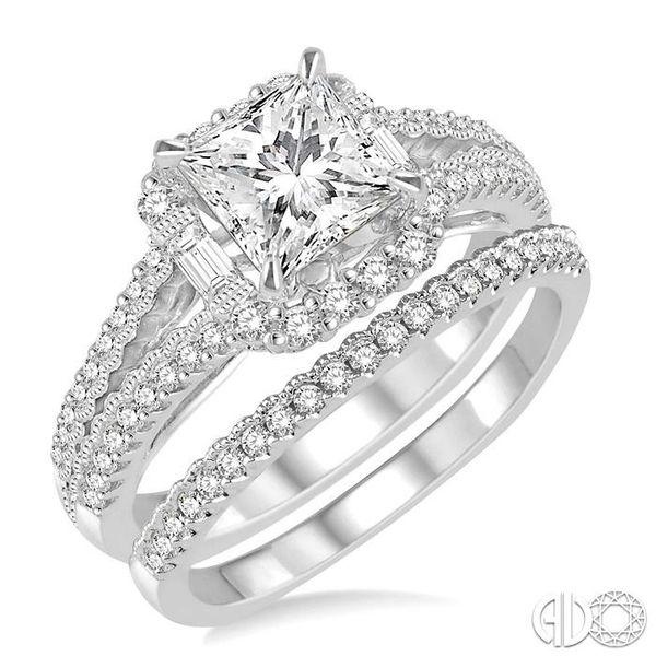 1 1/3 Ctw Diamond Bridal Set with 1 1/6 Ctw Princess Cut Engagement Ring and 1/6 Ctw Wedding Band in 14K White Gold Becker's Jewelers Burlington, IA