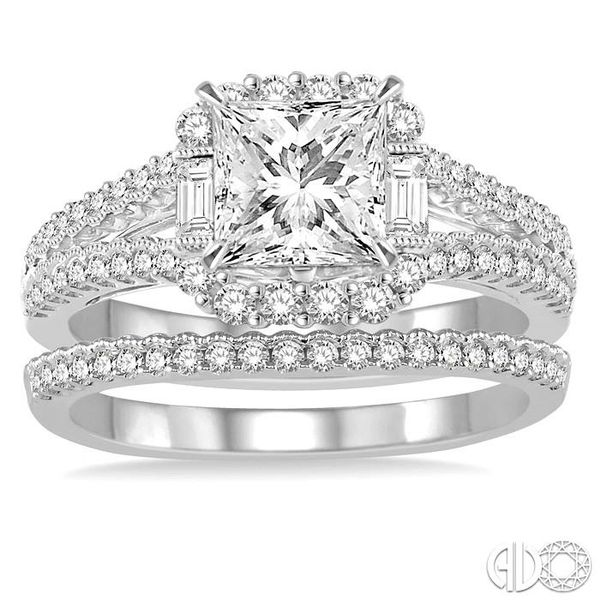 1 1/3 Ctw Diamond Bridal Set with 1 1/6 Ctw Princess Cut Engagement Ring and 1/6 Ctw Wedding Band in 14K White Gold Image 2 Becker's Jewelers Burlington, IA