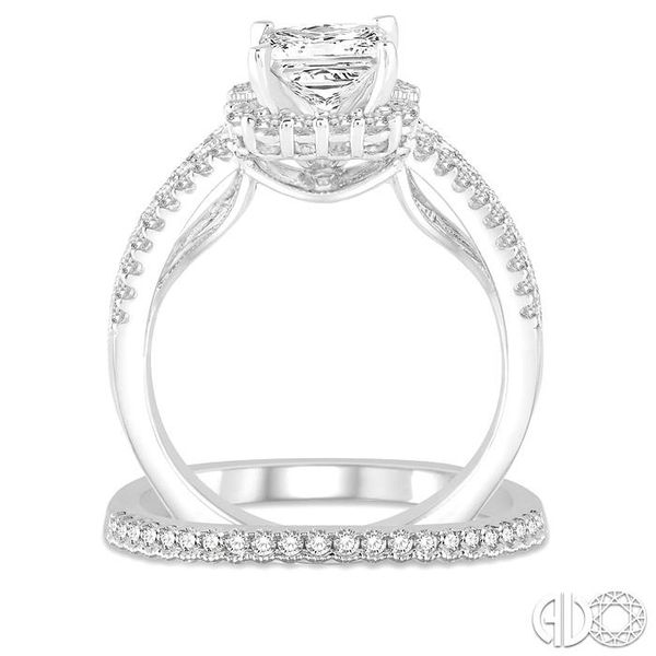 1 1/3 Ctw Diamond Bridal Set with 1 1/6 Ctw Princess Cut Engagement Ring and 1/6 Ctw Wedding Band in 14K White Gold Image 3 Becker's Jewelers Burlington, IA