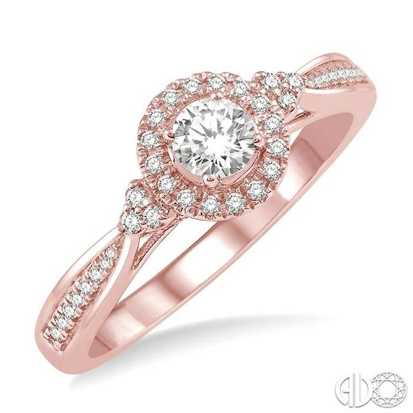 3/8 Ctw Round Center Heart Link Diamond Ladies Engagement Ring with 1/5 Ct Round Cut Center Stone in 14K Rose Gold Becker's Jewelers Burlington, IA