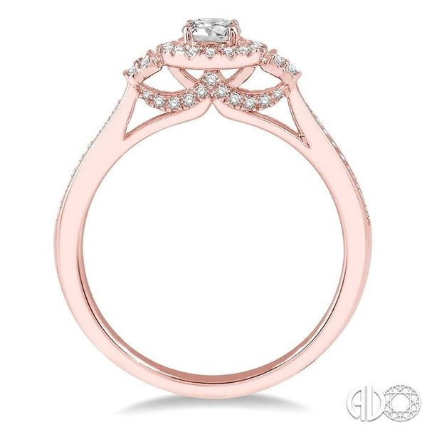 3/8 Ctw Round Center Heart Link Diamond Ladies Engagement Ring with 1/5 Ct Round Cut Center Stone in 14K Rose Gold Image 3 Becker's Jewelers Burlington, IA