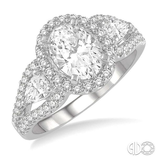 1 1/2 Ctw Oval Shape Diamond Engagement Ring in 14K White Gold Becker's Jewelers Burlington, IA