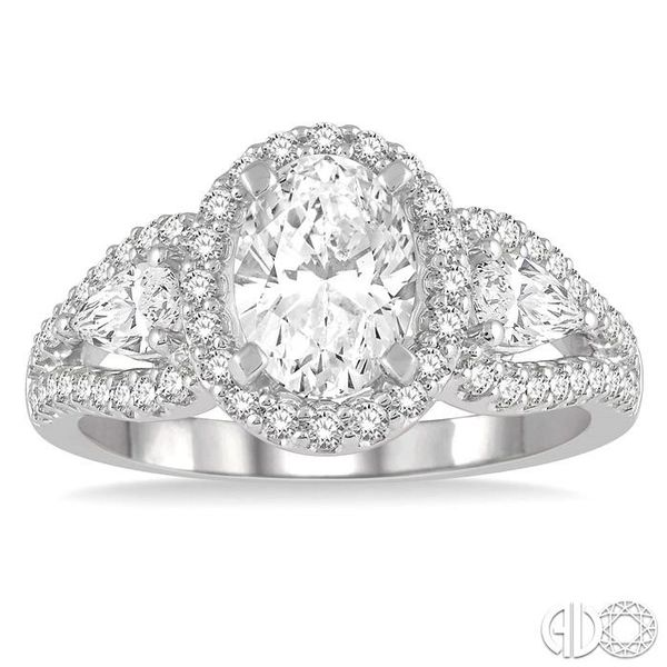 1 1/2 Ctw Oval Shape Diamond Engagement Ring in 14K White Gold Image 2 Becker's Jewelers Burlington, IA