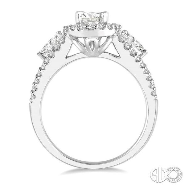 1 1/2 Ctw Oval Shape Diamond Engagement Ring in 14K White Gold Image 3 Becker's Jewelers Burlington, IA
