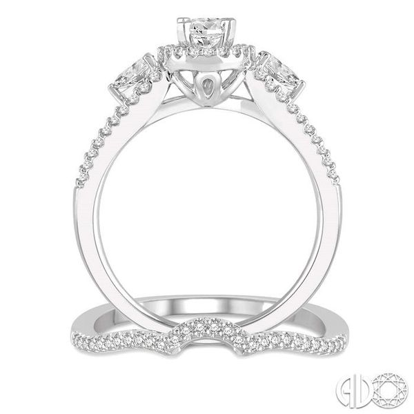 1 Ctw Diamond Wedding Set With 7/8 Ctw Oval Shape Engagement Ring and 1/10 Ctw Arched Center Wedding Band in 14K White Gold Image 3 Becker's Jewelers Burlington, IA